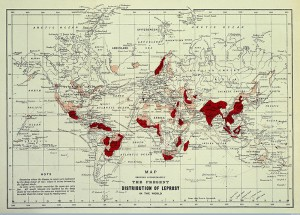 Map showing the distribution of leprosy around the world in 1891.