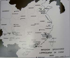 Sites of mission-sponsored leprosaria in China, 1950