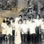 Children outside the colony's school