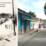 Calle 12, one of the main streets in Agua de Dios, shown in the 1970s and today