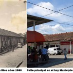 The main street of Agua de Dios in the 1960s and in the 2000s
