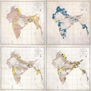 Various maps of leprosy in India produced by the Leprosy Commission