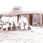 Male inmates, Champa. Front view of huts. November, 1903