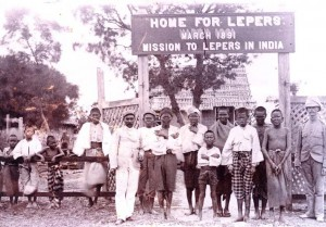 Patients at the first home built by The Leprosy Mission in Mandalay, Burma. 1891