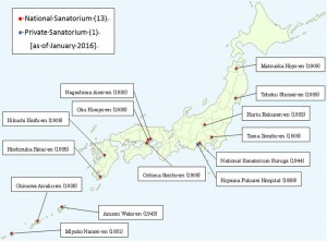 Map of leprosaria in Japan