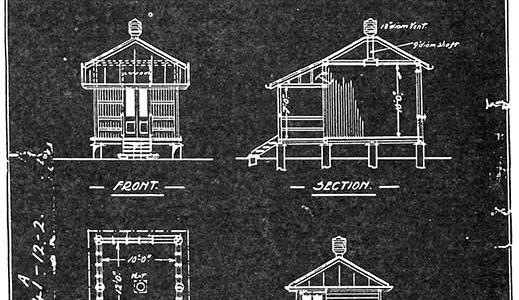 Design for Peel Island huts. (Department of Administrative Services)