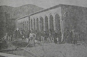 One of the dormitories in the course of construction (Leper Quarterly)