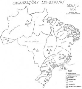 Map showing leprosy organisations in Brazil in 1936