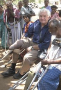Dan Izzett pictured at a Government Rehabilitation Home near Chengalpattu, Tamil Nadu, on a visit to India in September 2003 to participate in an IDEA workshop.