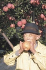 Tetsuo Sakurai pictured at the family orchard in Tsugaru in 2001.