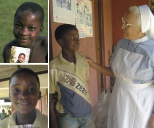 (Counterclockwise from top left) Isa in September 2001, holding a photo of himself before he began treatment; Isa in May 2005; and seen with Sister Maria Paula, also in May 2005.
