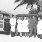 The staff of the mobile medical brigade. The white car has 'Hospital Rovisco Pais' on the front door.