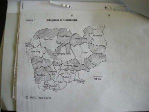 A map of Cambodia from the WHO archives showing the regions for Special Action Projects against leprosy