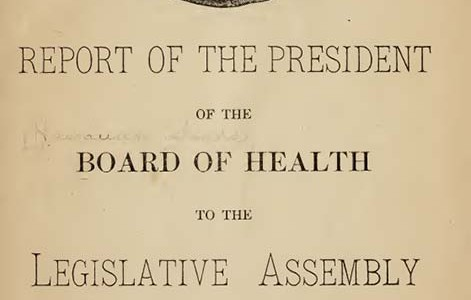 Hawaii Board of Health report on leprosy, 1886.