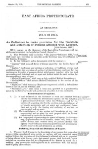East Africa Protectorate ordinance for the isolation of people with leprosy (1913)