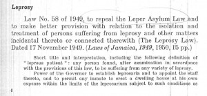 Jamaican legislation for leprosy control program