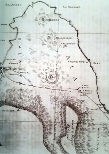 Map drawn in 1895 by M D Monsarrat showing Kalaupapa on the western side and Kalawao on the eastern side of Molokai. Emmett Cahill, Yesterday at Kalaupapa (Honolulu, Hawaii: Editions Limited, 1990), p. 12.