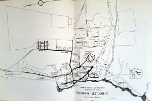 Board of Health plan of the layout of the hospital and settlement, Kalaupapa, Molokai, Hawaii. Source: Emmett Cahill, Yesterday at Kalaupapa (Honolulu, Hawaii: Editions Limited, 1990), p. 12.