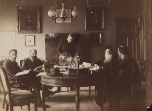Part of the science faculty at the Bergen Museum, including Gerhard Armauer Hansen (second from left) and Daniel Cornelius Danielssen (second from right).