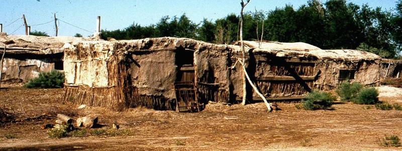 The leprosarium at Krantau, Uzbekistan. In 1996 these mud huts housed 105 patients.